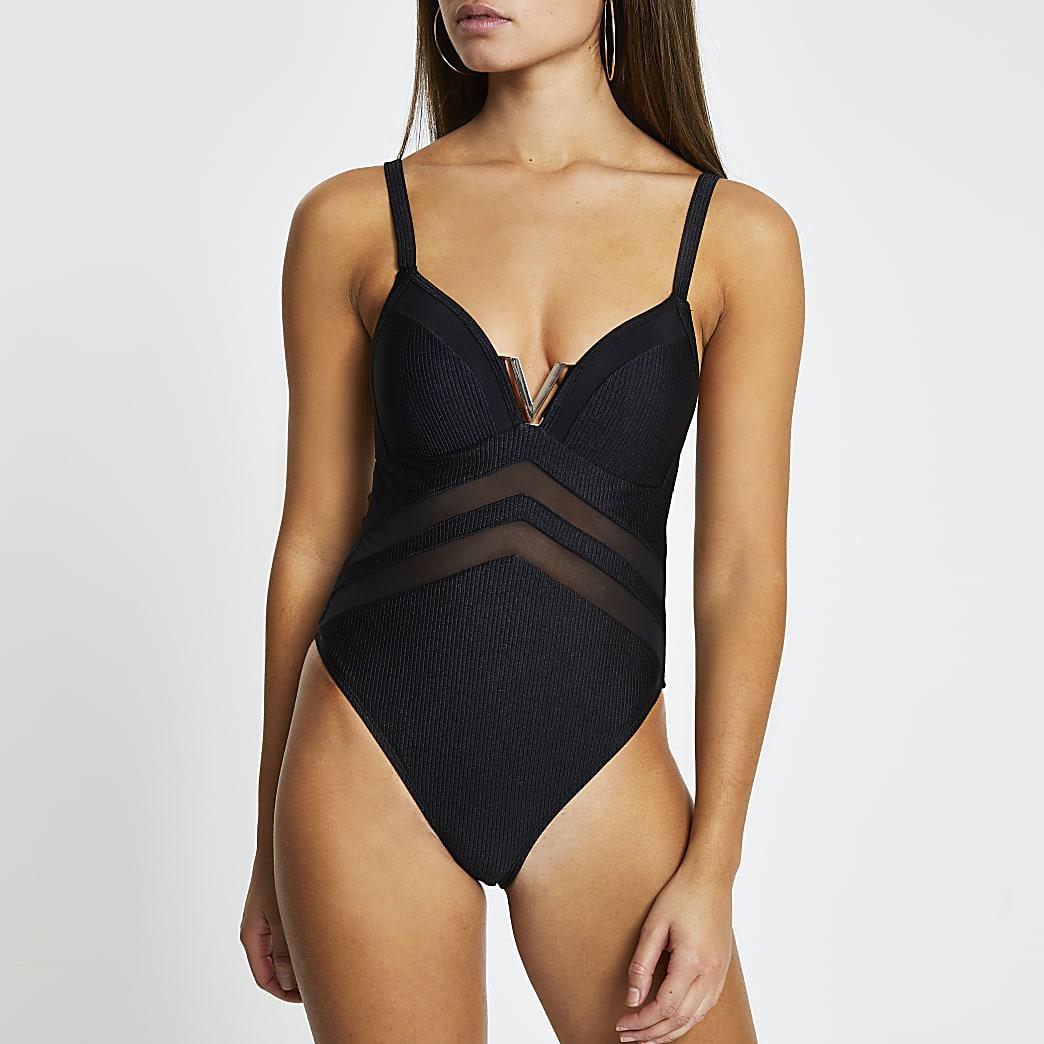 Black v neck moulded swimsuit