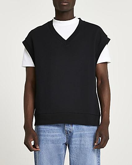 Black v neck sleeveless sweatshirt vest