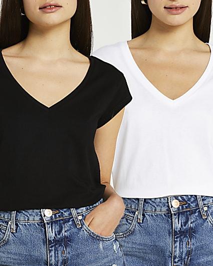 Black v-neck t-shirt multipack