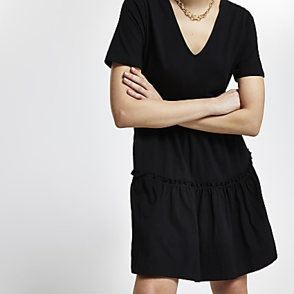 Black v neck t-shirt tiered smock dress