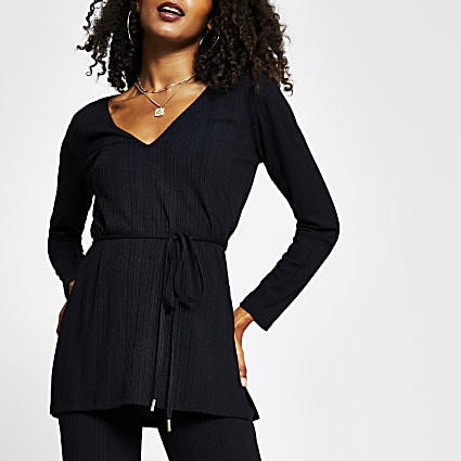 Black v neck tie waist ribbed tunic