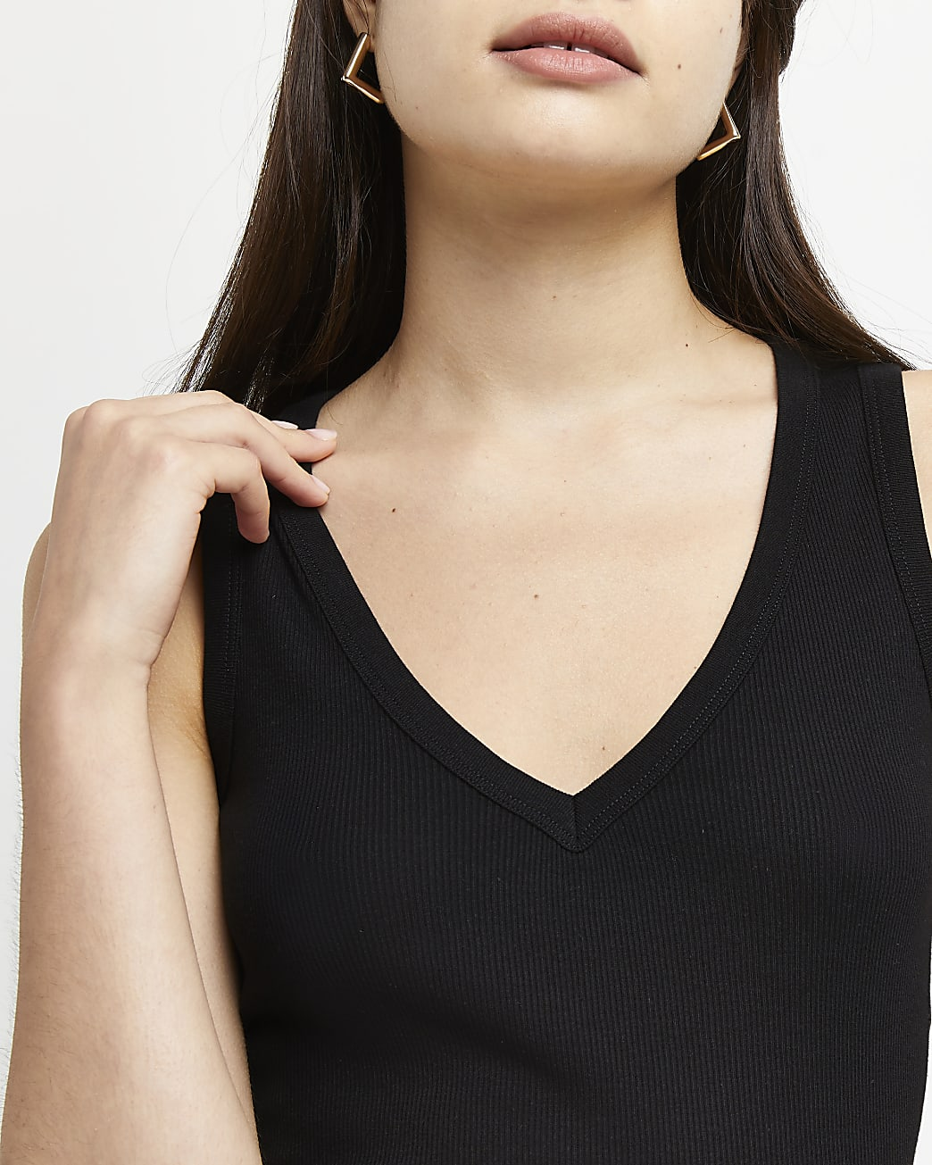 Black v-neck vest top