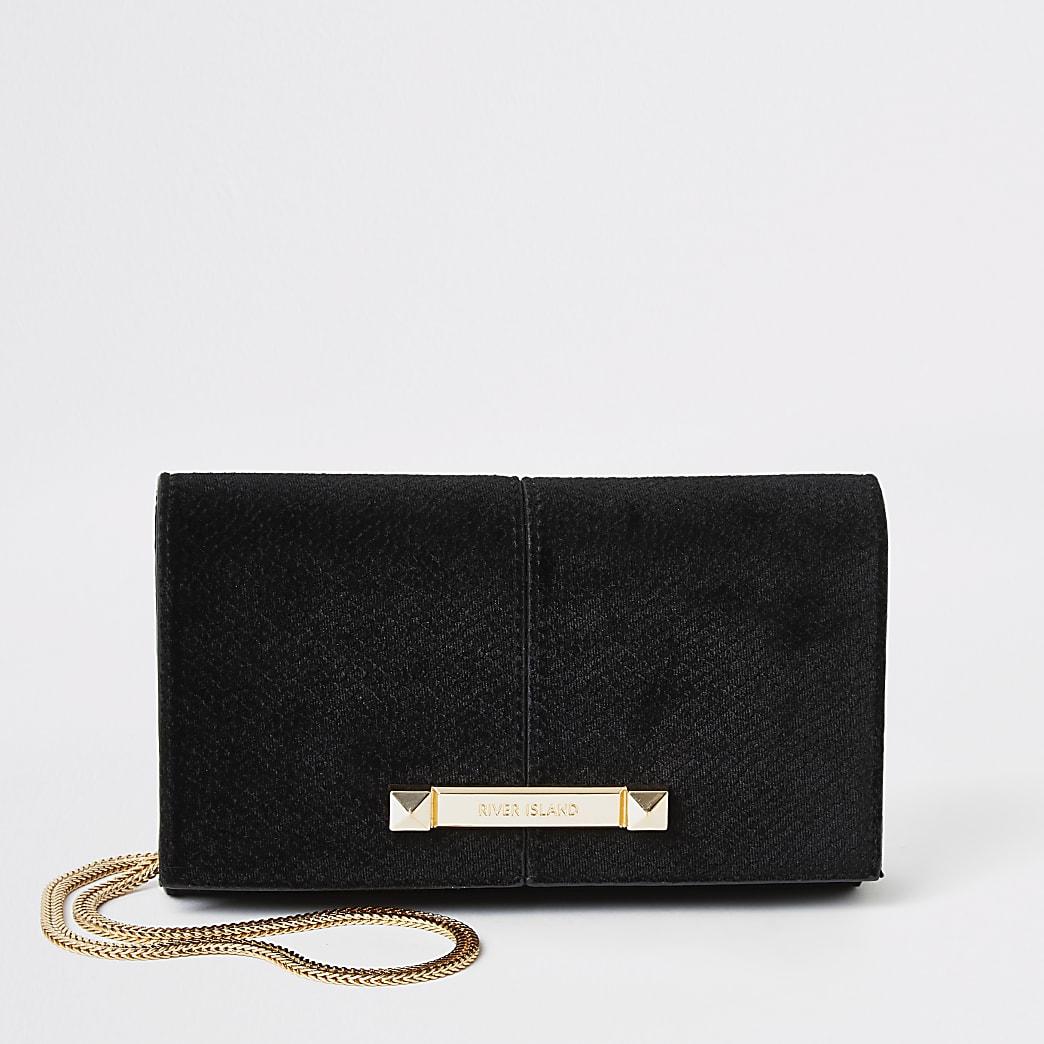 Black velvet boxy mini cross body bag
