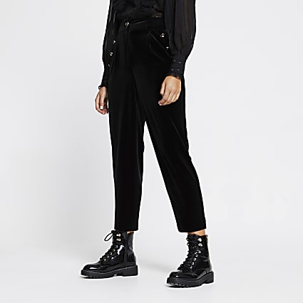 Black velvet button front peg trousers