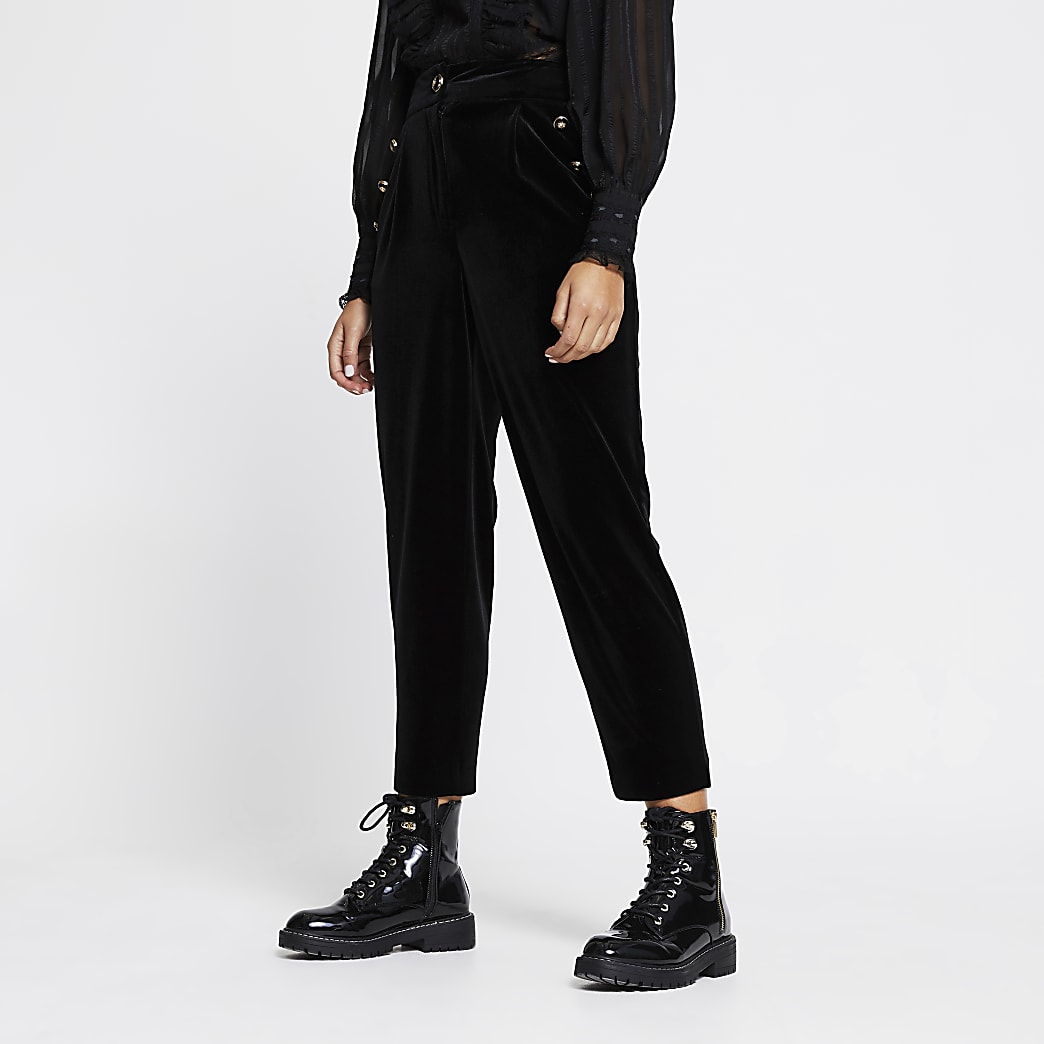Black velvet button front peg trousers