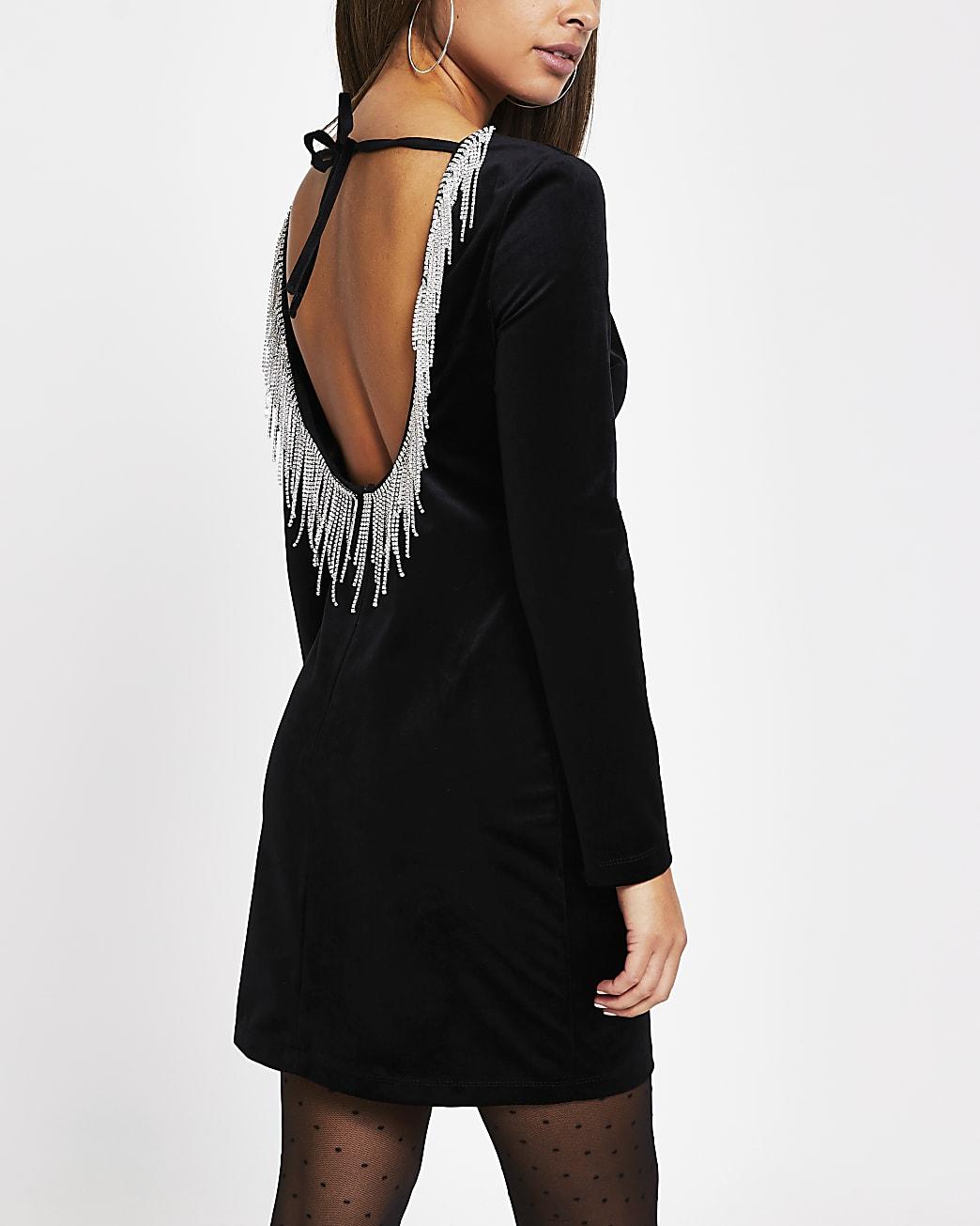 Black velvet diamante trim long sleeve dress