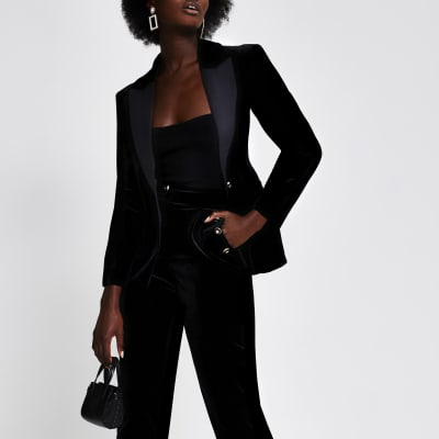 Black Velvet Fitted Blazer River Island