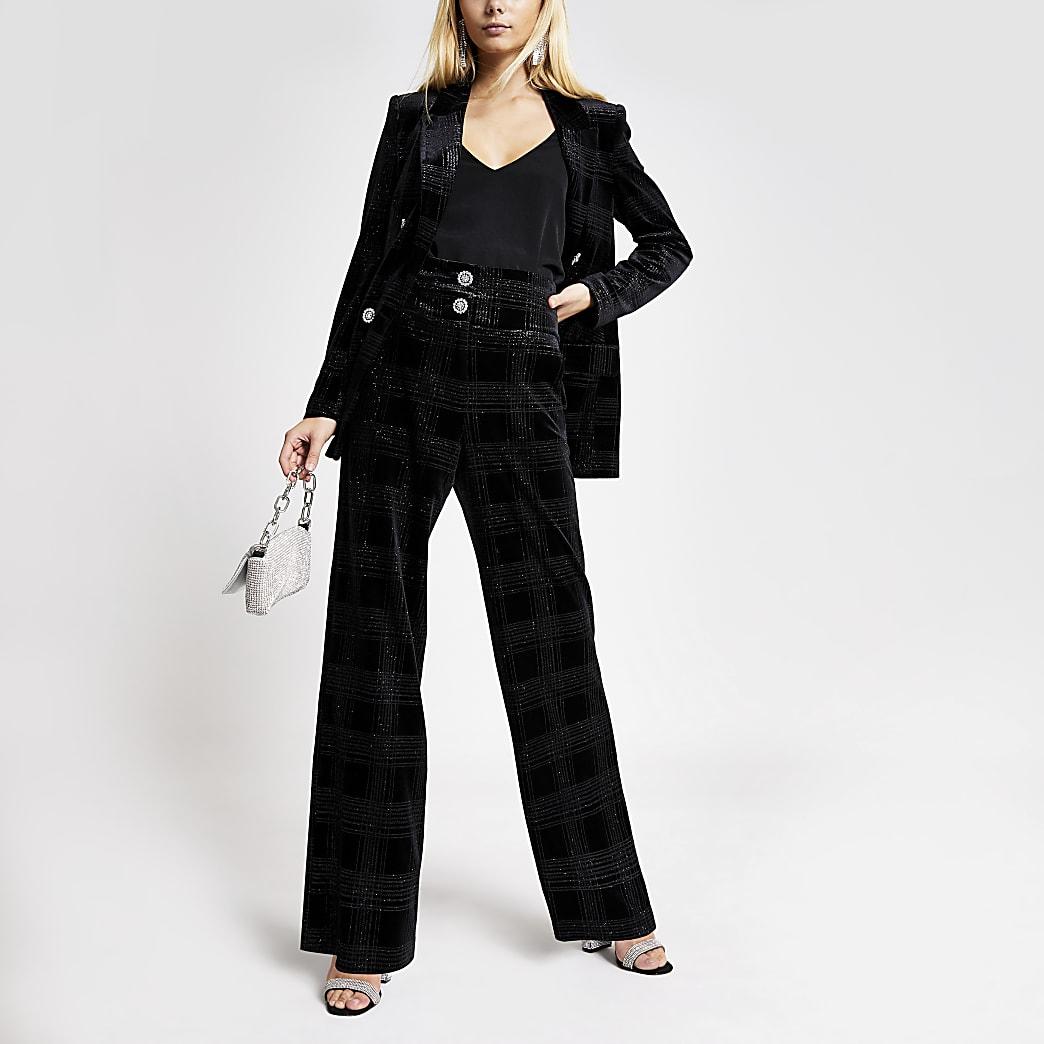 Black velvet glitter check flare trousers