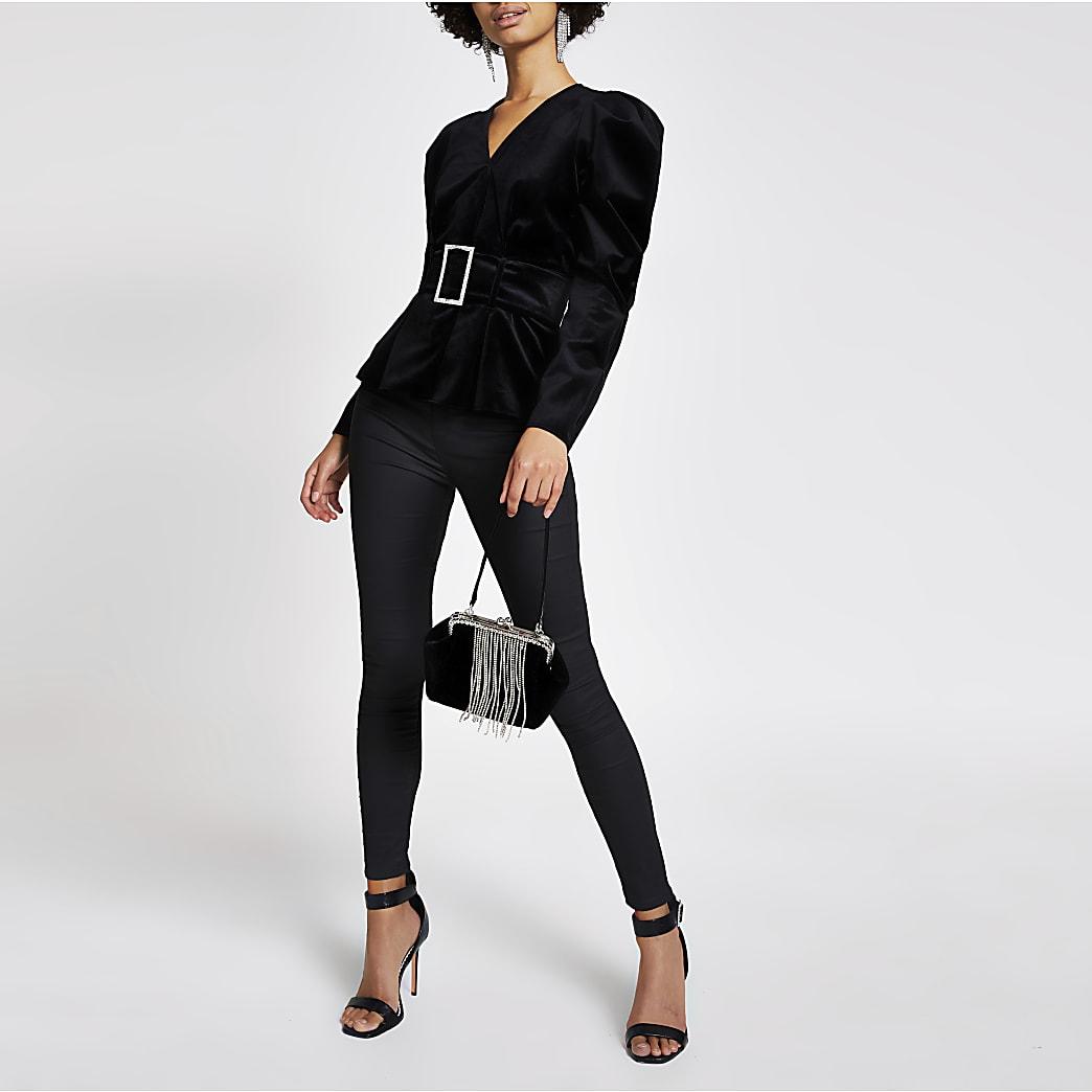 Black velvet long sleeve belted top