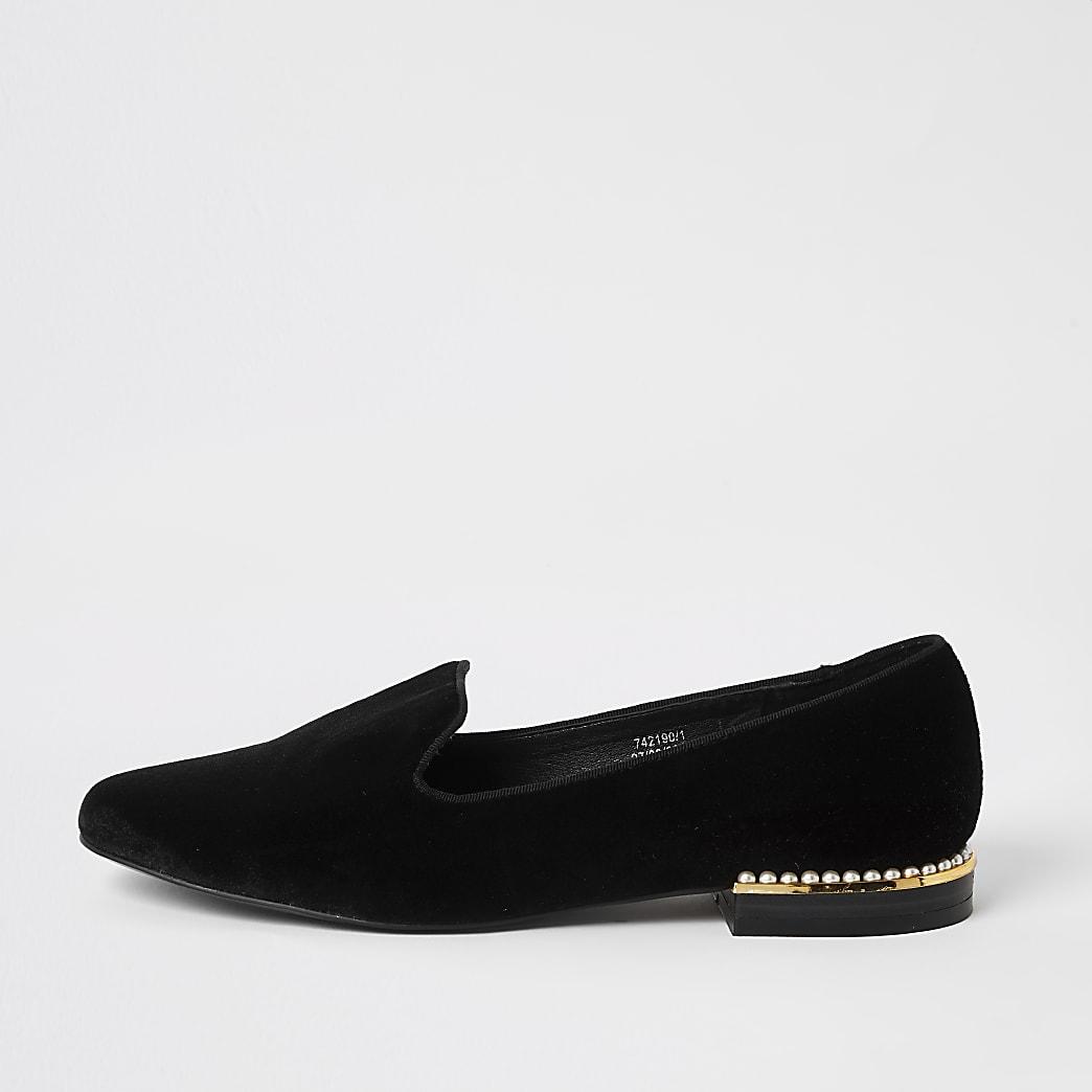 Black velvet pearl embellished slipper shoes