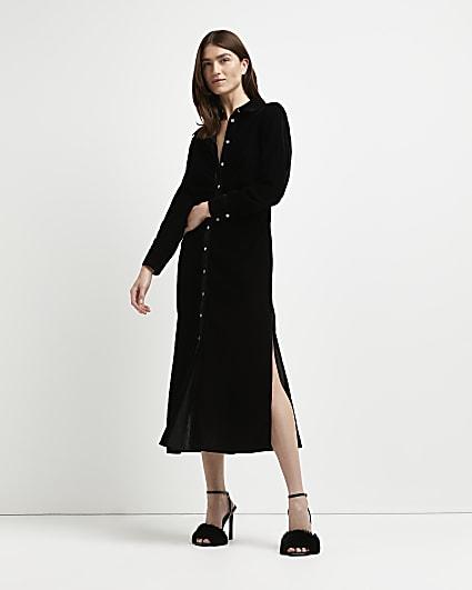 Black velvet ruched midi dress