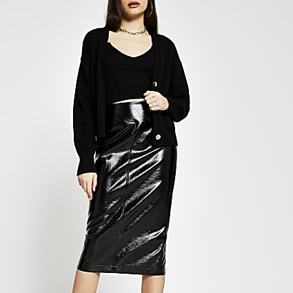 Black vinyl pencil midi skirt