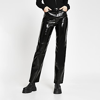 Black vinyl straight leg trousers