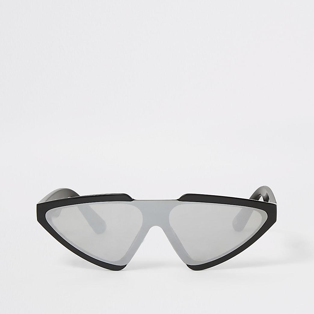Zwarte zonnebril in visor-stijl
