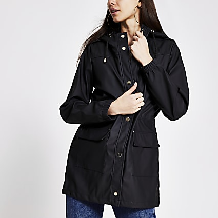 Black waisted rainmac jacket