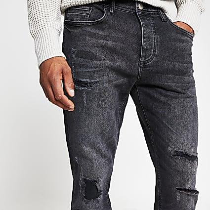 Black wash denim ripped jeans