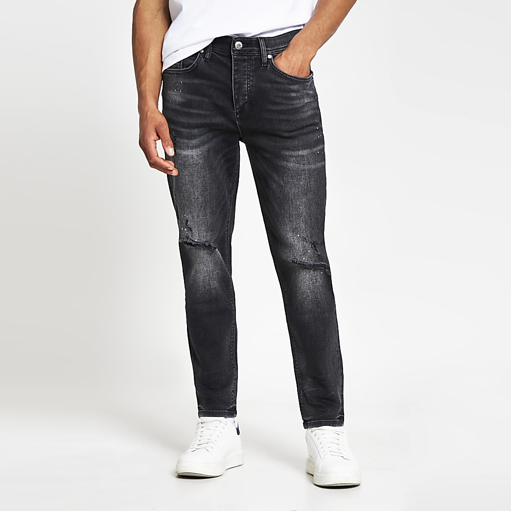 Black wash Jimmy tapered fit jeans
