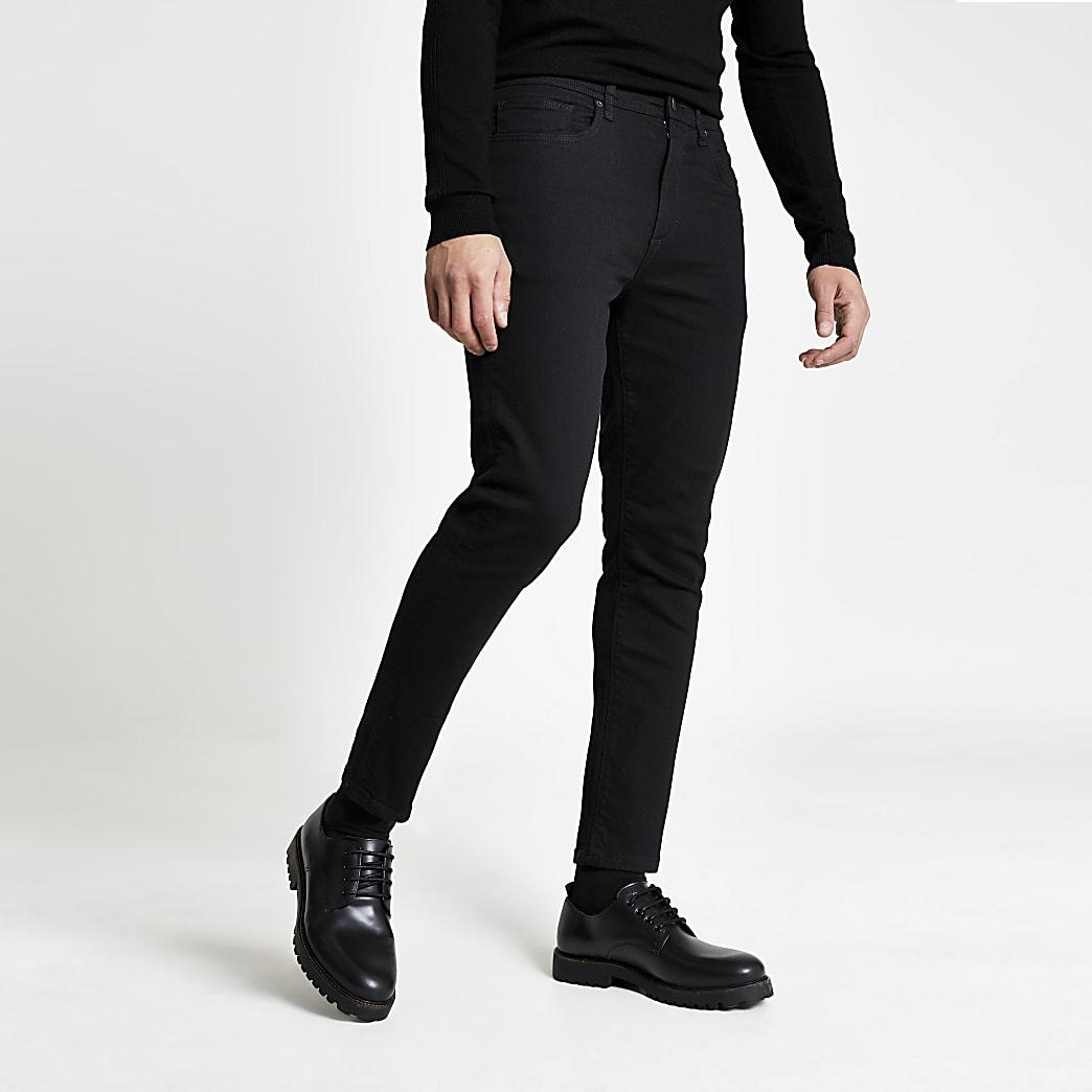 Zwarte wash smaltoelopende Jimmy jeans