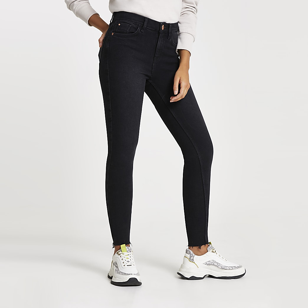 Black washed Amelie super skinny jeans