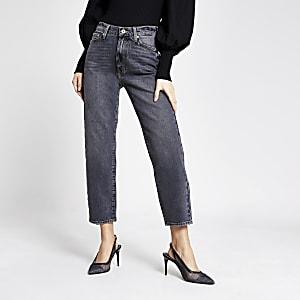 """Schwarze Straight Jeans """"Blair"""" mit hohem Bund und Waschung"""