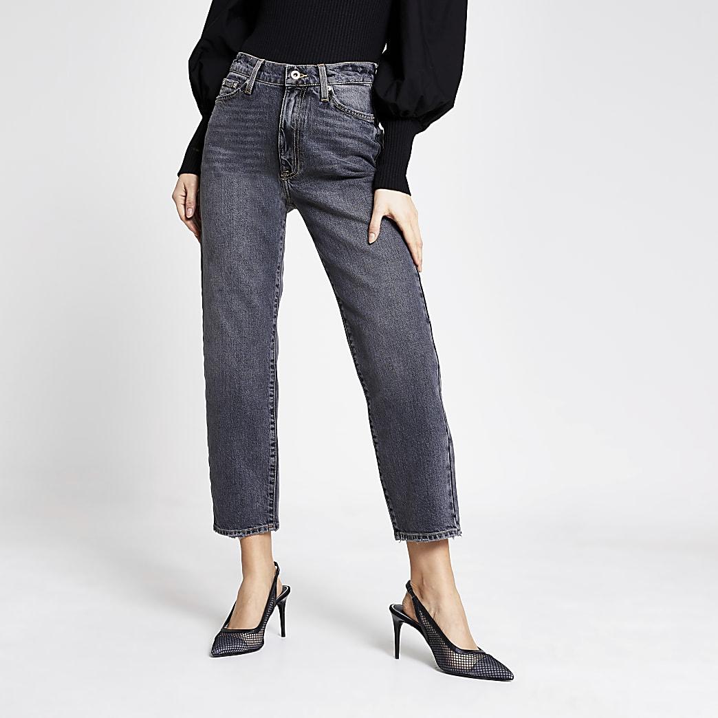 Blair – Jean droit taille haute noir délavé