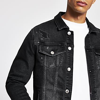 Black washed bleach denim jacket