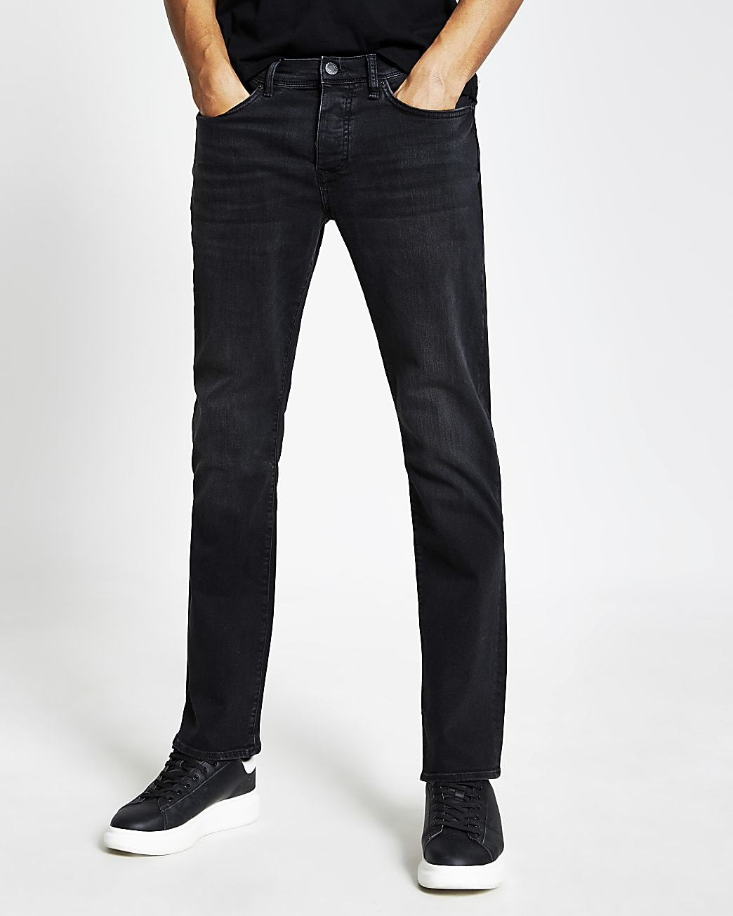 Black washed bootcut fit jeans