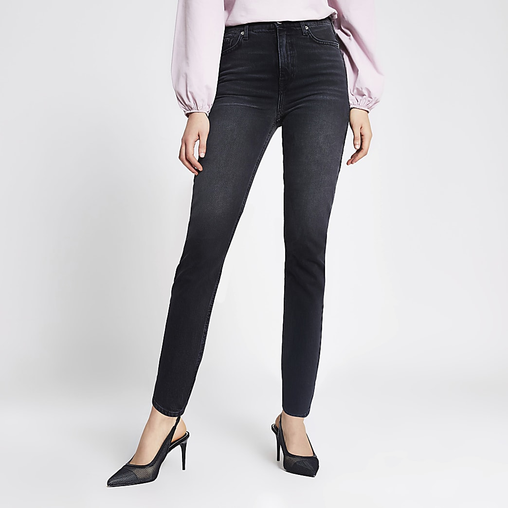 Black washed Brooke high rise slim jeans