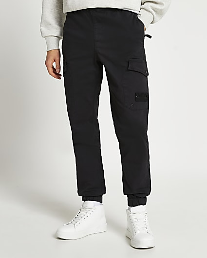 Black washed cargo trousers