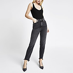 Blauwe rippedCarrie Mom jeans met hoge taille