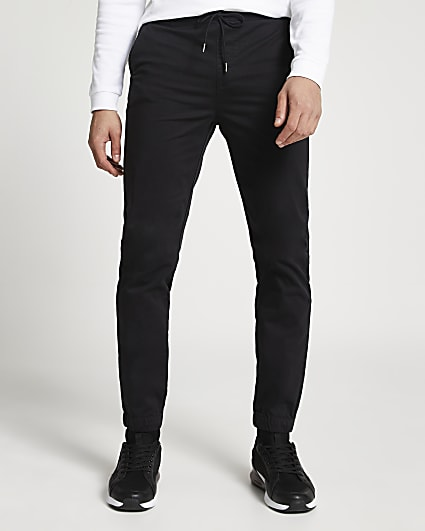 Black washed casual slim fit chino joggers