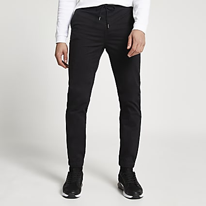 Black washed casual slim fit chinos