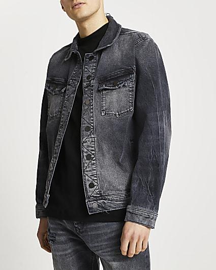 Black washed denim jacket