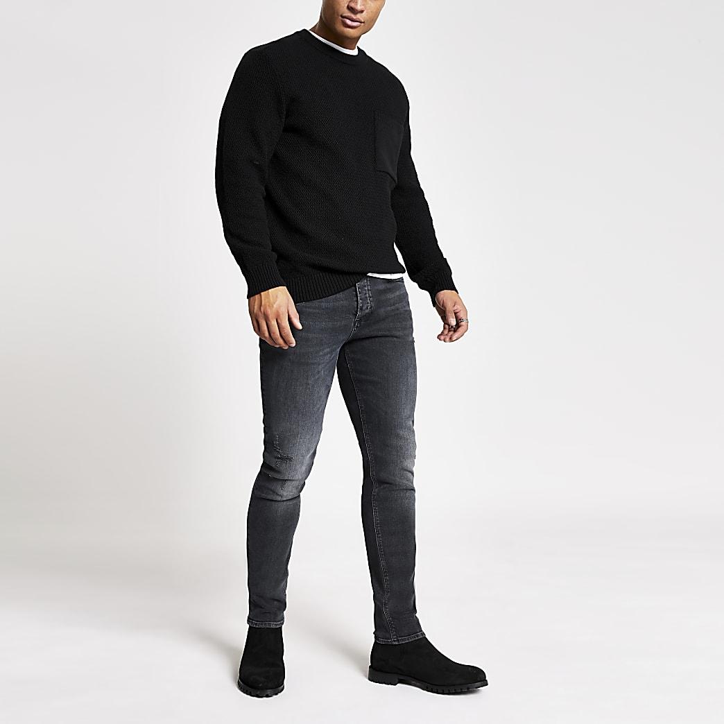 Zwarte washed slim-fit Dylan jeans