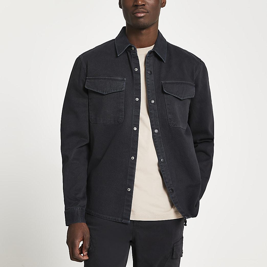 Black washed long sleeve shirt