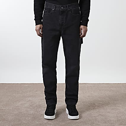 Black washed relaxed fit carpenter jeans