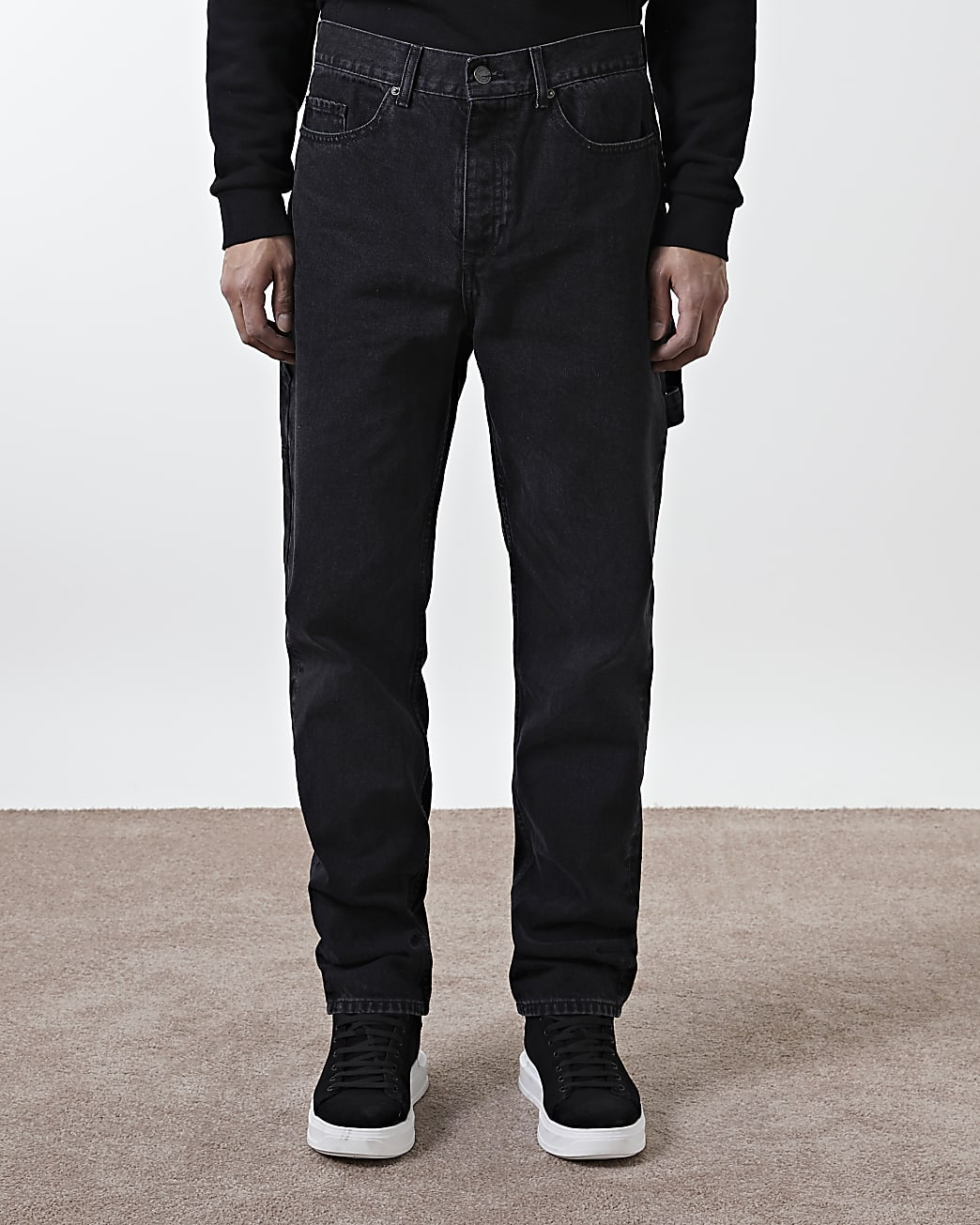 Black washed relaxed fit jeans