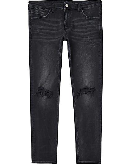 Black washed ripped skinny fit jeans