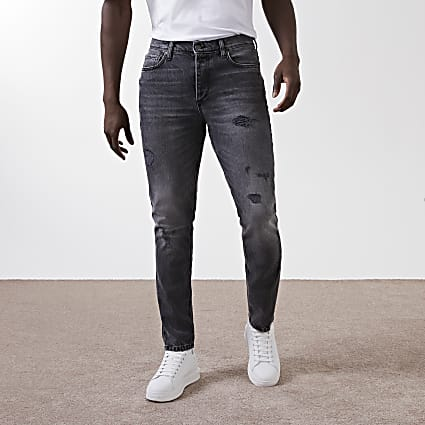 Black washed ripped slim fit jeans