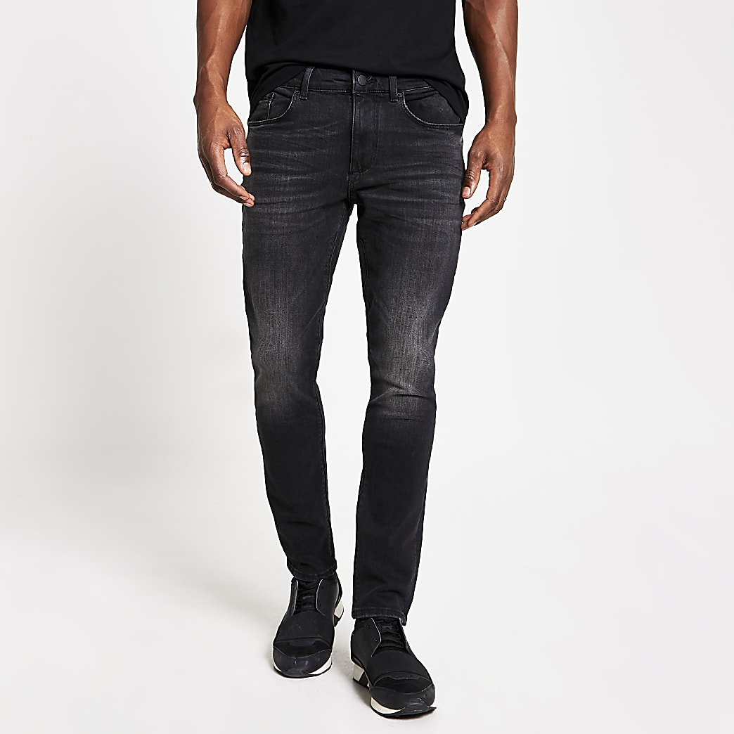 Black washed Sid skinny stretch jeans