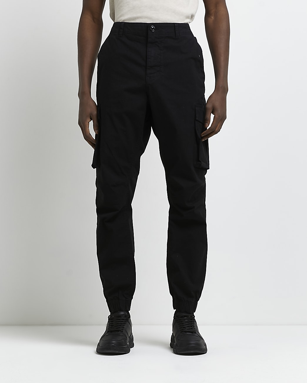 Black washed slim fit cargo trousers