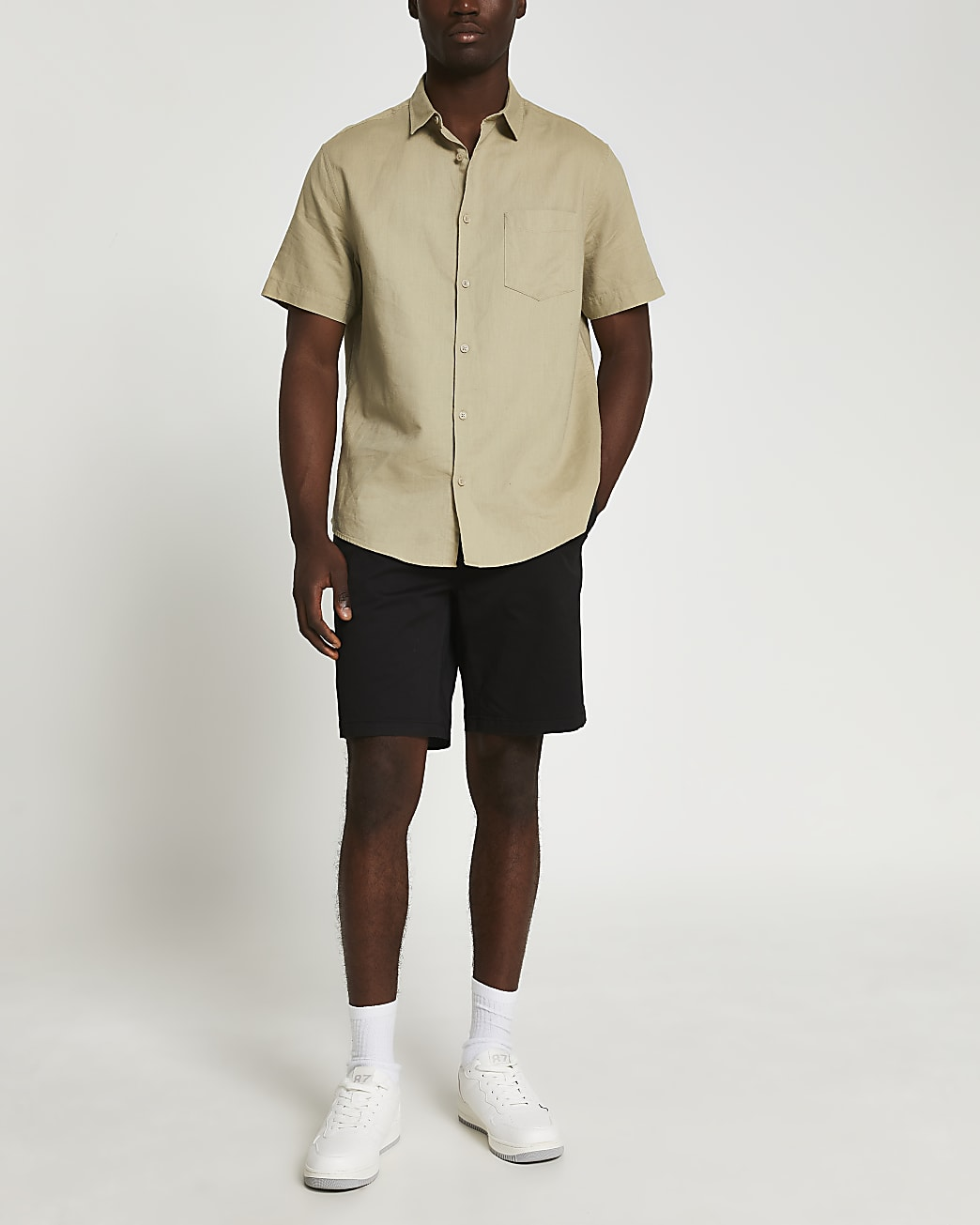 Black washed slim fit chino shorts