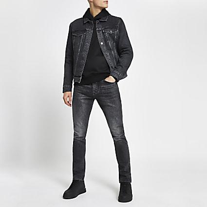 Black washed slim-skinny fit jeans