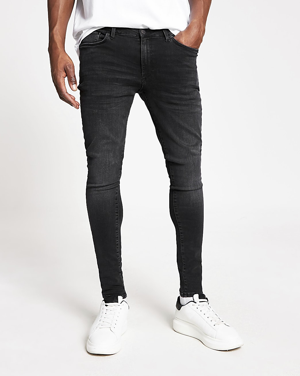 Black washed spray on skinny fit jeans