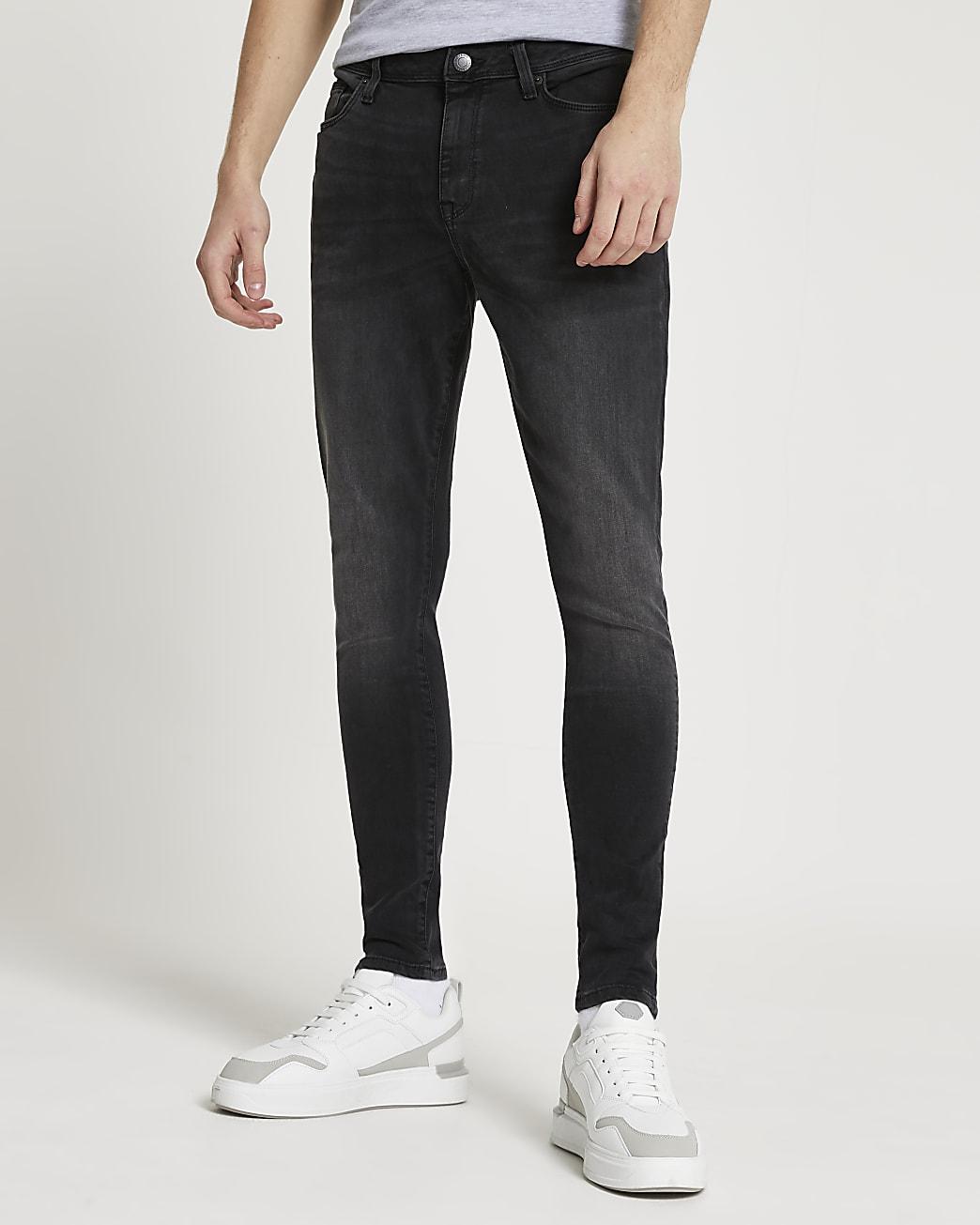 Black washed spray on skinny jeans