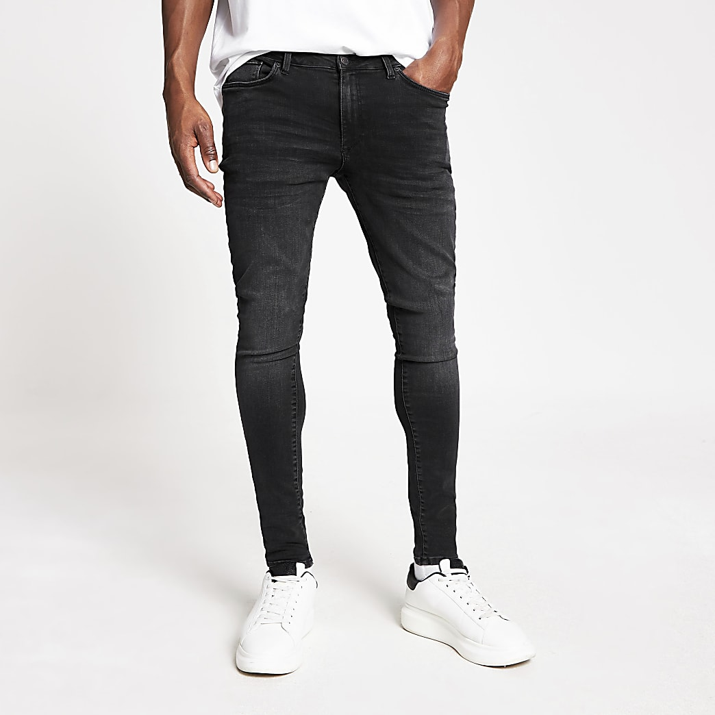 Black washed spray on skinny jeans