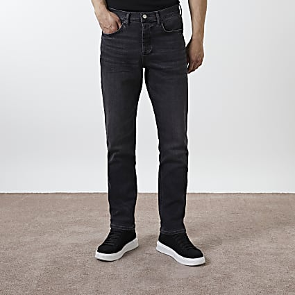 Black washed straight fit jeans