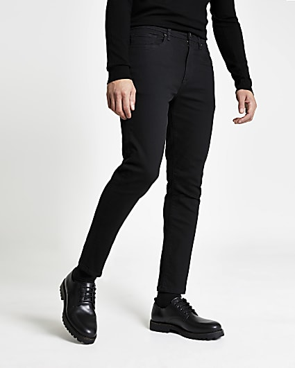 Black washed tapered fit jeans