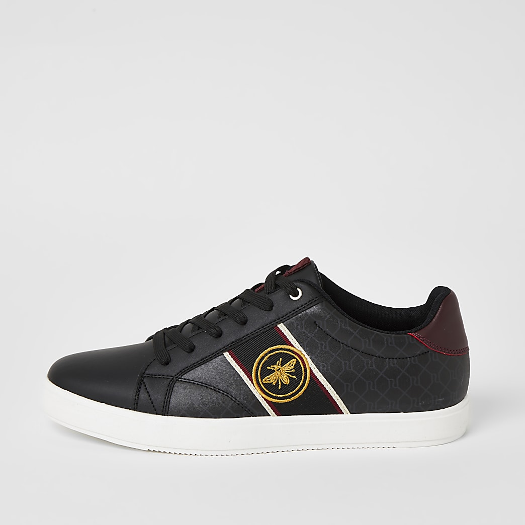 Black wasp tape side lace-up trainers