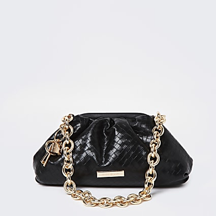 Black weave chunky chain ruched bag